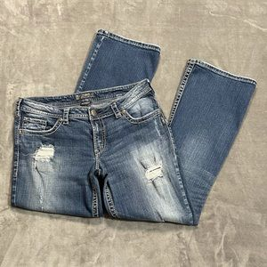 Silver Pioneer Distressed Bootcut Jeans!